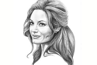 60min People Pencil Sketching Lesson - Angelina Jolie