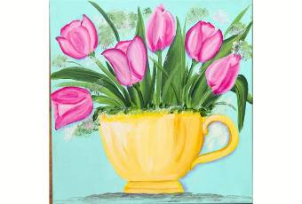 60min Learn to Draw Art Lesson- Tulips in a cup