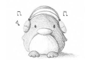 60min Animal Pencil Sketching Art Lesson - Musical Penguin