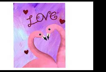 60min Paint A Flamingo Love Valentines Art Lesson