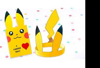 60min Papercraft Pikachu Pokemon Card & Hat Valentine