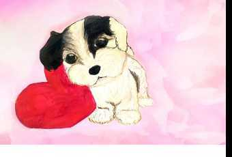 60min Paint A Puppy Love Valentine Art Lesson