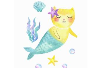 60min Learn to Draw A Cat Mermaid Art Lesson