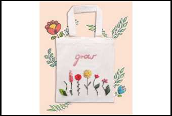 Flower Power Tote Bag Embroidery