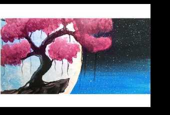 60min Paint A Cherry Tree Cliff Landscape Scenery