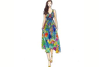 60min Fashion Sketching Lesson - Colorful Spring Dress