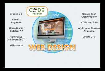 Learn Web Design for Grades 5-9 - Class Starts 11/10/20