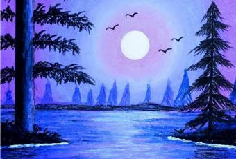 60min How to Paint a Landscape Scenery - Nighttime Lake