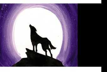 60min Paint A Howling Wolf Moon Art Lesson