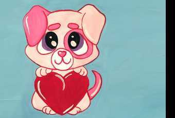 30min Draw A Pink Puppy Heart Valentine Art Lesson