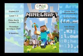 Minecraft Modding - 8 Classes Starting Nov 13 - Grades 4-9