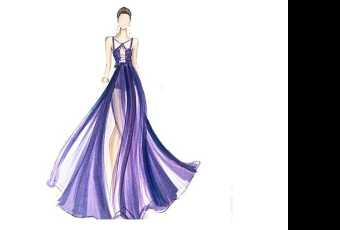 60min Fashion Sketching Lesson - Chiffon Halter Gown