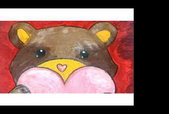 30min Paint A Bear & Heart Art Lesson