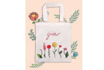 Flower Power Tote Bag- Embroidery