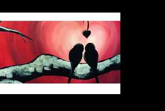 60min Paint A Valentine Love Birds Art Lesson