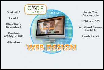 Web Design - Ages 10-15 - Level 3 Intermediate Virtual Class - 4 lessons