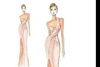 60min Fashion Sketching Lesson - Asymmetrical Trumpet Gown