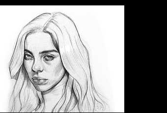 60min People Pencil Sketching Lesson - Billie Eilish